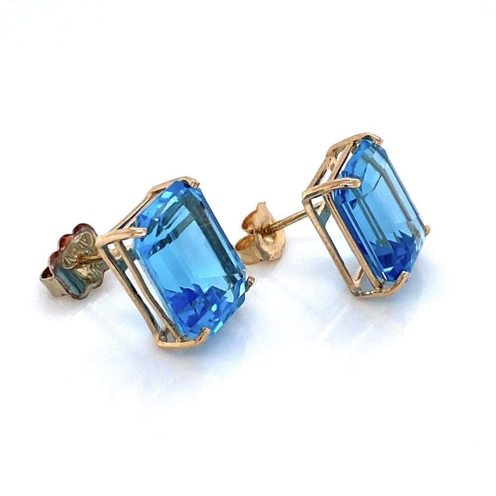 "Image 2 for 14K YG Emerald Cut 10tcw Blue Topaz Earrings 3.9g, .5"""