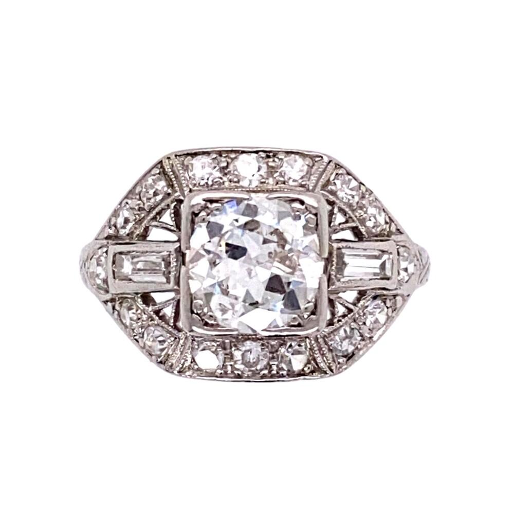 Platinum Art Deco 1.42tcw Diamond Engraved, Filigree Ring 3.3g, s5