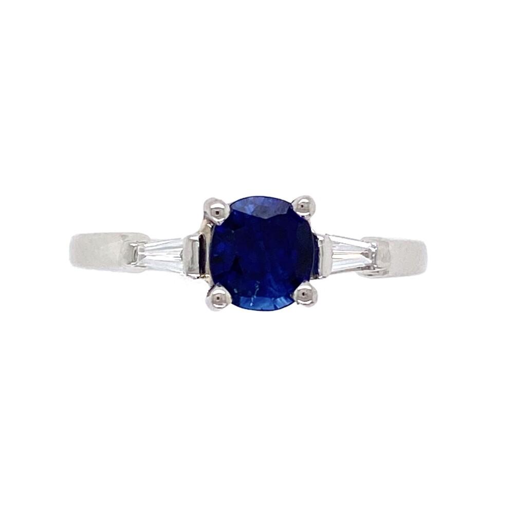 Platinum 1.00ct Round Sapphire & .11tcw Diamond Ring 4.3g, s6.5