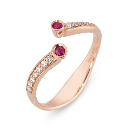 18K RG Open Split .09tcw Ruby & .11tcw Diamond Ring 2.8g, s7.25