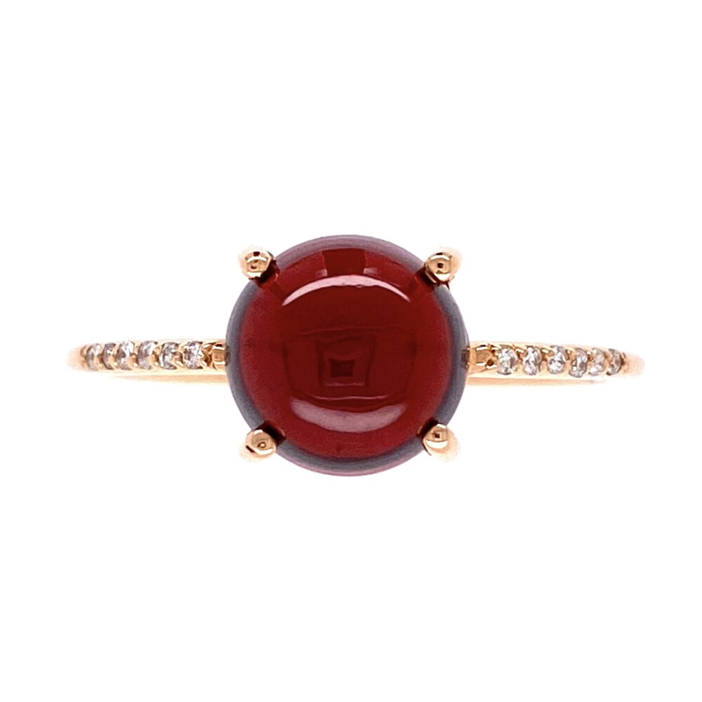 18K RG 3.25ct Cabochon Garnet & .05tcw Diamond Ring 2.5g, s8