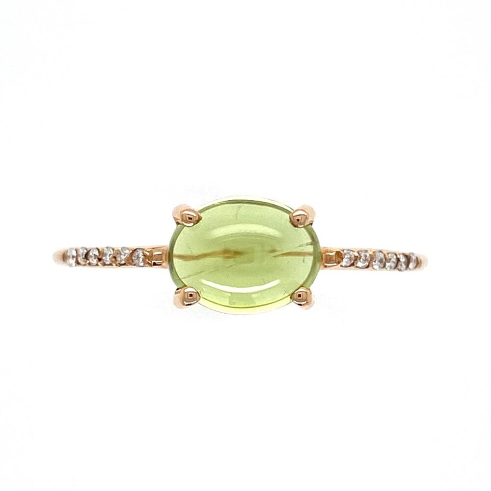 18K RG 2.05ct Cabochon Peridot & .05tcw Diamond Ring 2.1g, s8