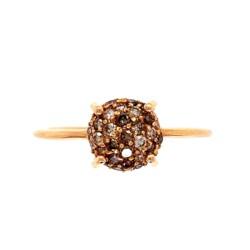 Closeup photo of 18K RG Champagne Cluster .38tcw Diamond Ring 2.5g, s7.75