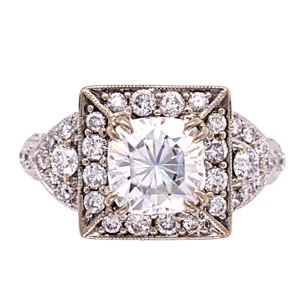 18K WG 2ct Cushion Moissanite & 1.35tcw Diamond Ring 6.8g, s6.5