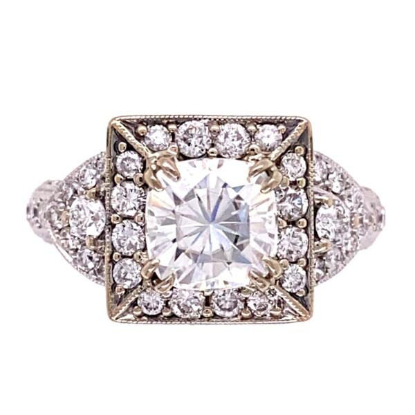 Closeup photo of 18K WG 2ct Cushion Moissanite & 1.35tcw Diamond Ring 6.8g, s6.5