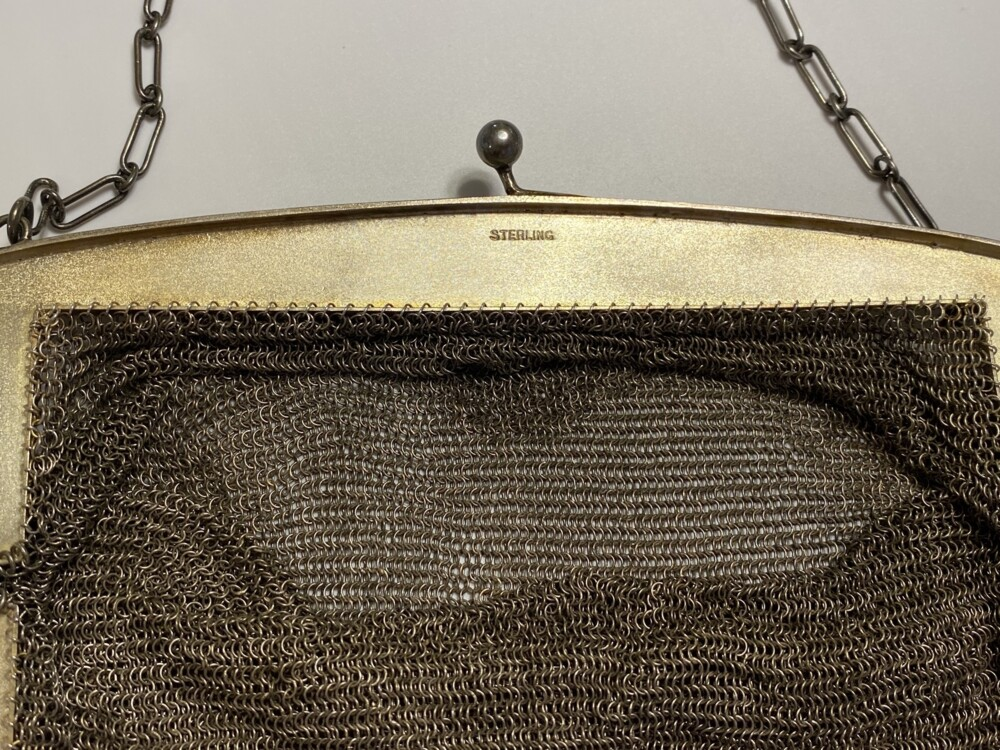 925 Sterling Mesh Purse with Engraving 262.8g, c1900
