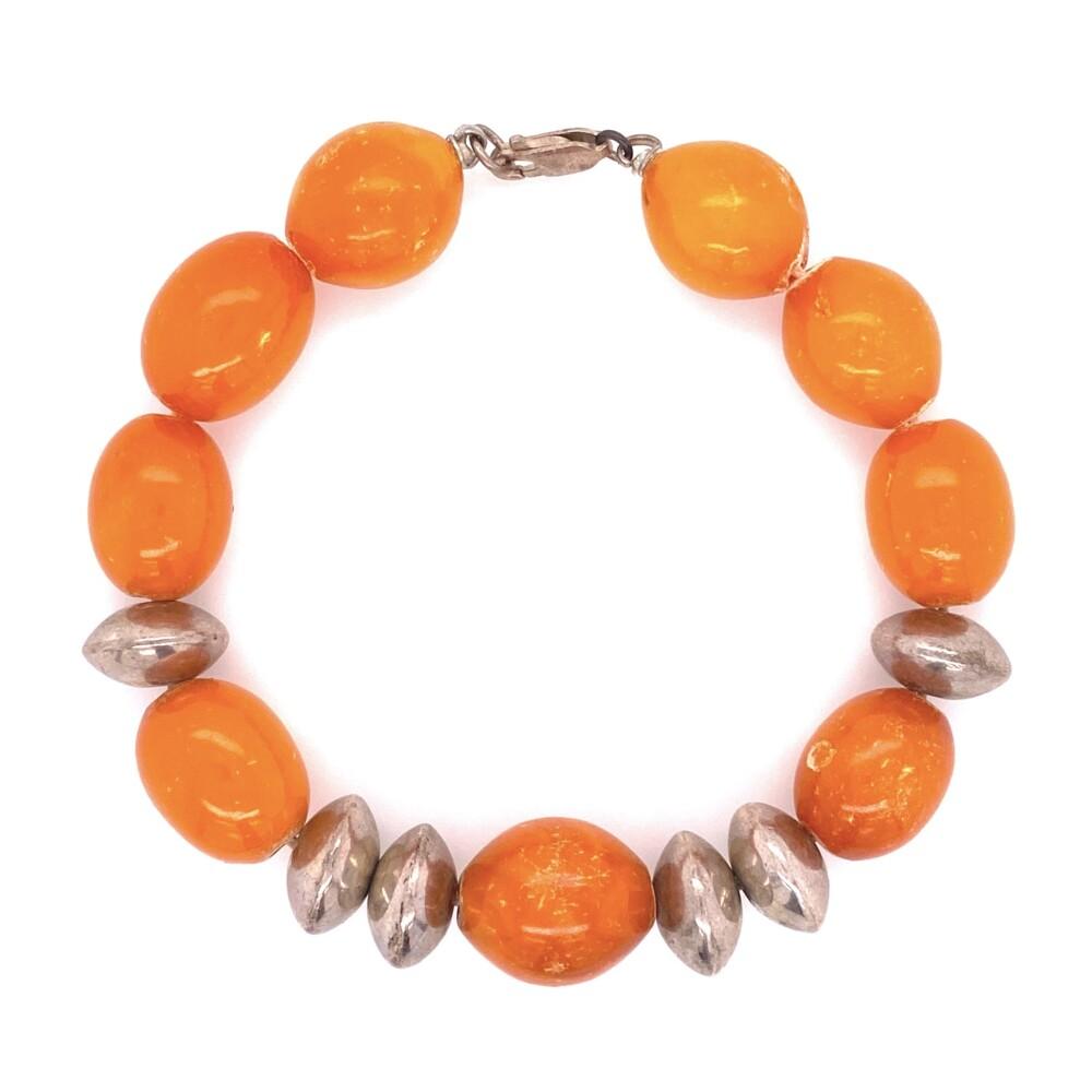 """925 Sterling Sterling & Opaque Orange Amber Bracelet 17.7g, 7.5"""""""