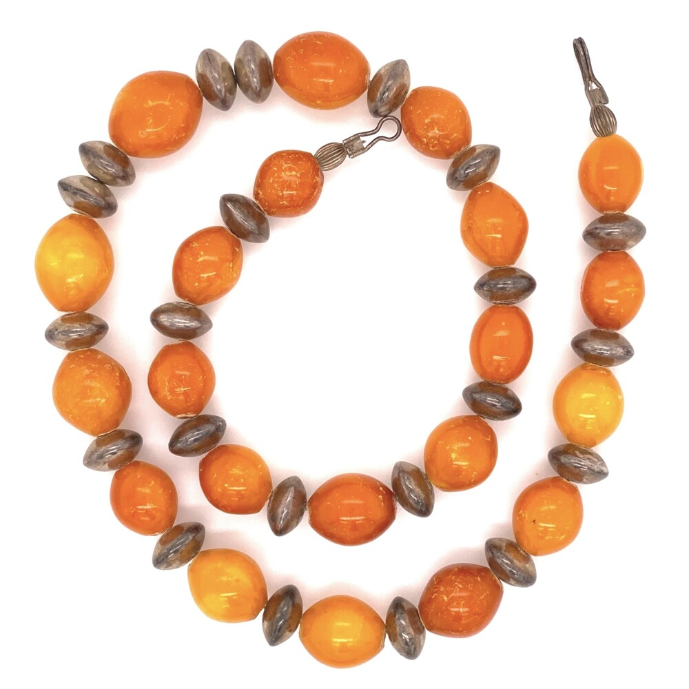 925 Sterling Sterling & Opaque Orange Amber Necklace 52.6g, 19.5""