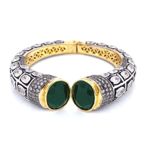 Closeup photo of GF Yellow Cuff Bangle Green Stones & Paste 60.6g
