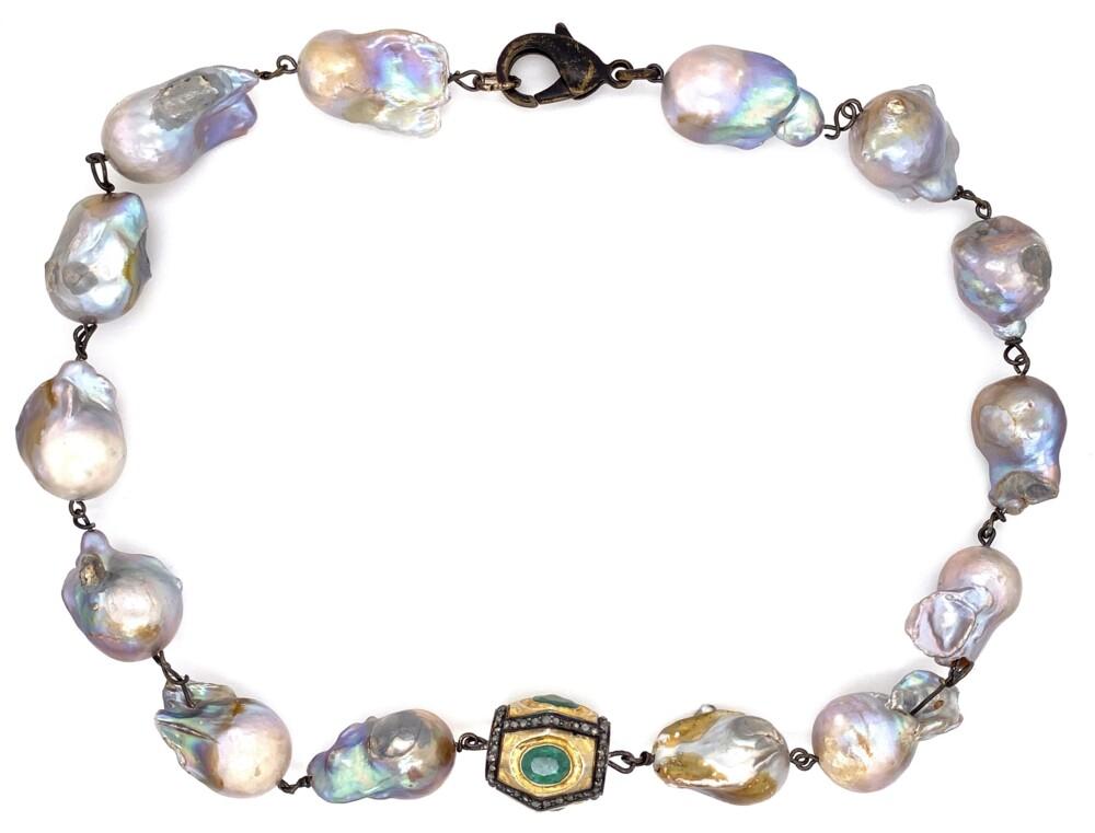 "GF Emerald & 1.50tcw Diamond Clasp on Baroque Pearl Necklace 95.5g, 16"""