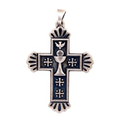 Closeup photo of 925 Sterling Silver JAMES AVERY Cross Pendant 12g, 2.1""