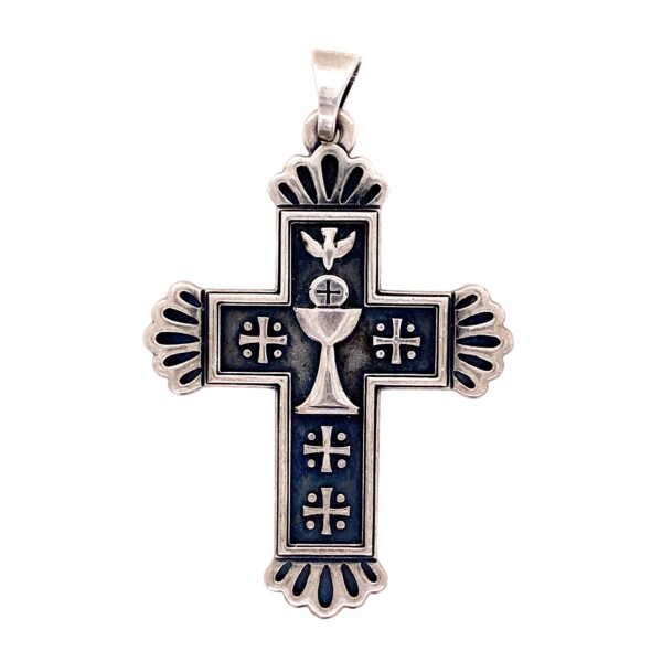 """Closeup photo of 925 Sterling Silver JAMES AVERY Cross Pendant 12g, 2.1"""""""