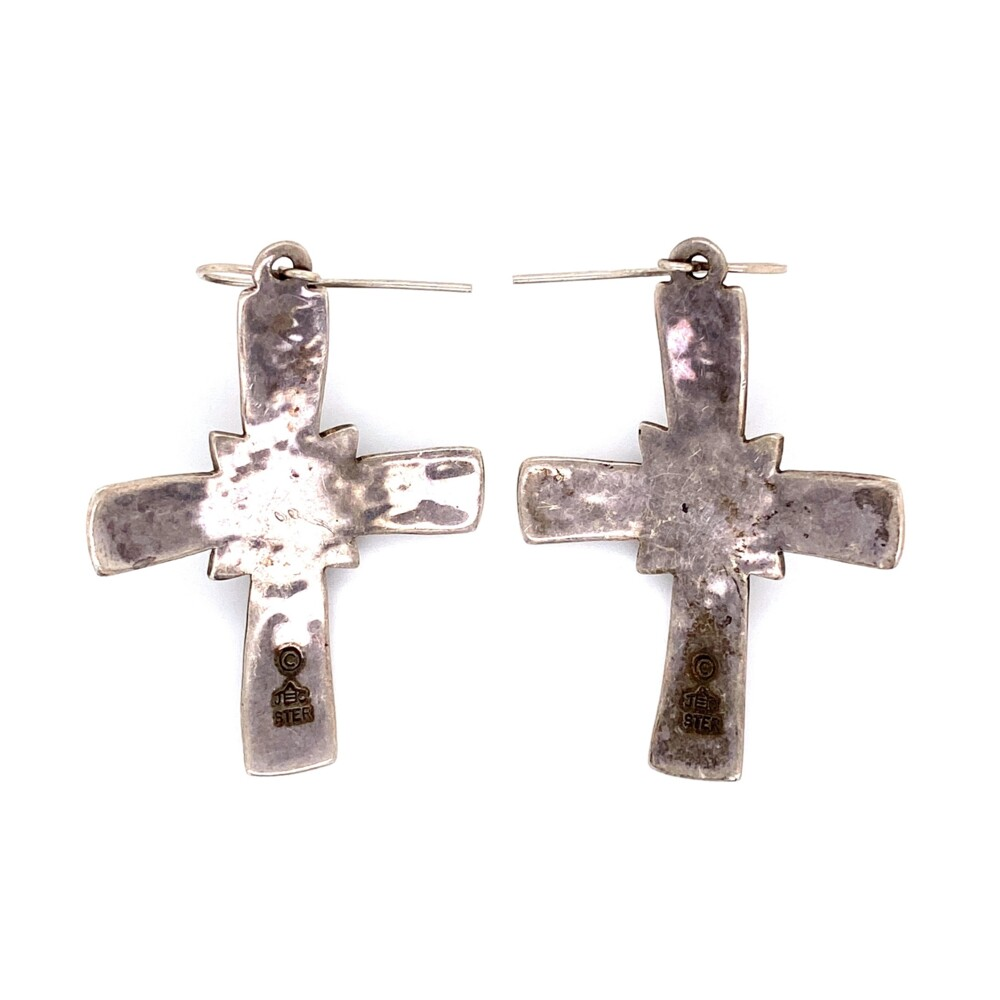 925 Sterling Silver & Onyx JEEP COLLINS Cross Earrings 9.4g, 2""
