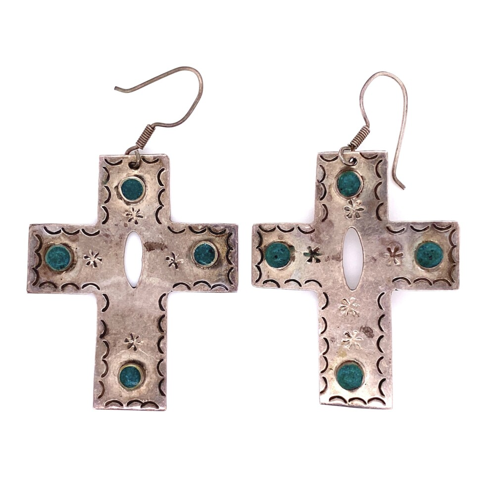 925 Sterling Silver & Turquoise Cross Earrings 17.2g, 2.5""