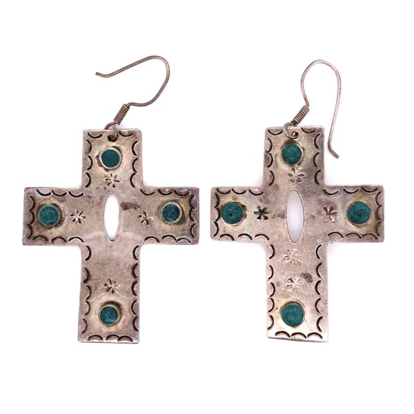 """Closeup photo of 925 Sterling Silver & Turquoise Cross Earrings 17.2g, 2.5"""""""