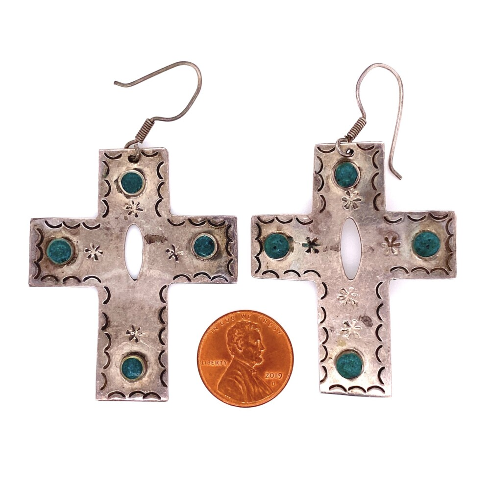 """Image 2 for 925 Sterling Silver & Turquoise Cross Earrings 17.2g, 2.5"""""""