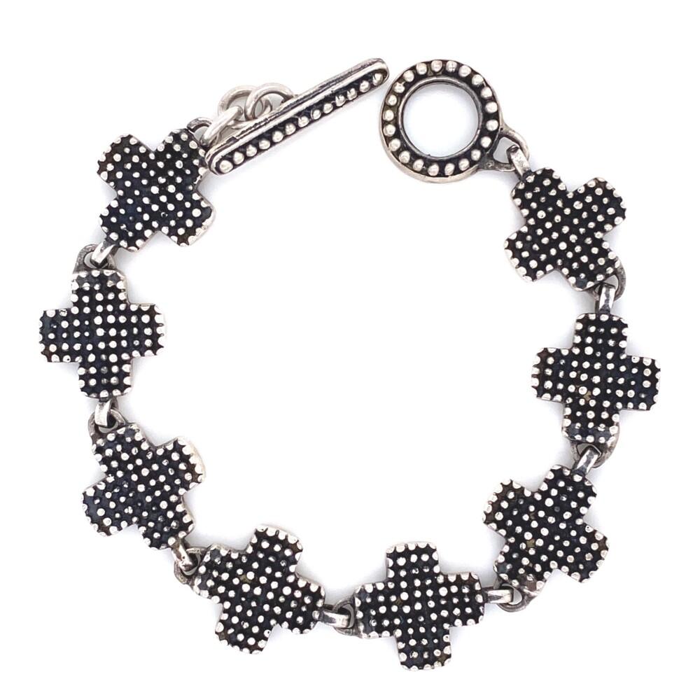 """925 Sterling Maltese Cross Bracelet 21.2g, 7"""""""