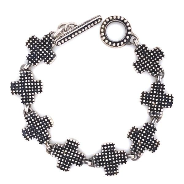 """Closeup photo of 925 Sterling Maltese Cross Bracelet 21.2g, 7"""""""