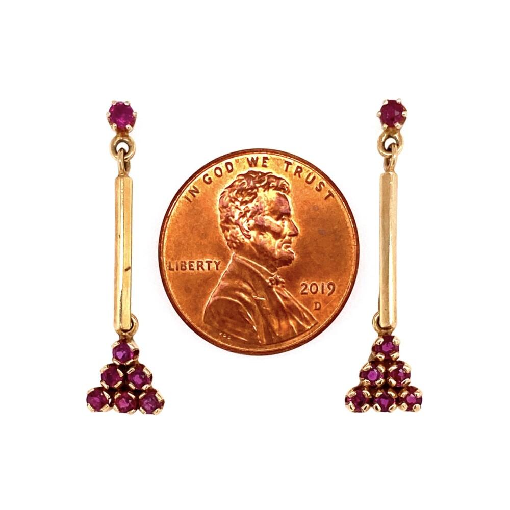 Image 2 for 14K YG Ruby Drop Dangle Earrings 2.8g
