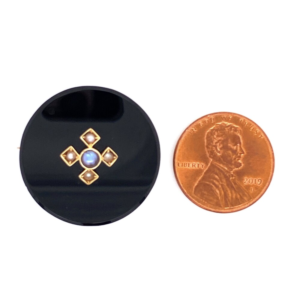 Image 2 for 14K YG Victorian Onyx & Seed Pearl Brooch Pin 6.1g, 25mm