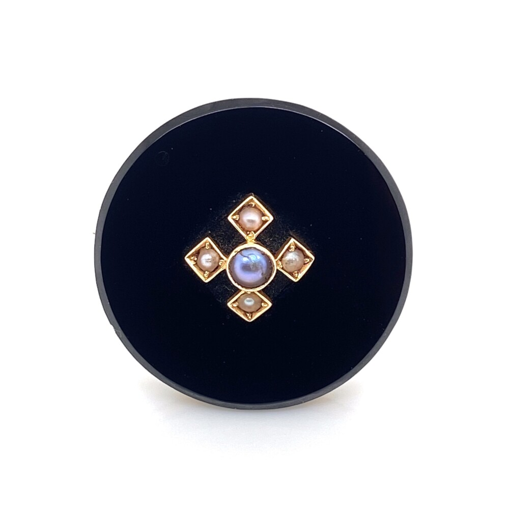 14K YG Victorian Onyx & Seed Pearl Brooch Pin 6.1g, 25mm