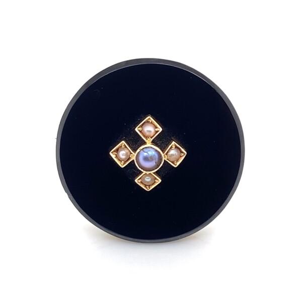 Closeup photo of 14K YG Victorian Onyx & Seed Pearl Brooch Pin 6.1g, 25mm