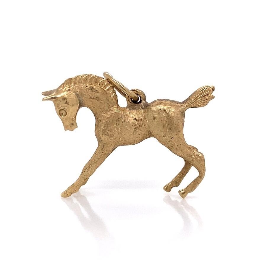 14K YG Bucking Horse Charm 3.8g