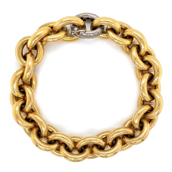 Closeup photo of 18K YG Link Bracelet Hammered .07tcw Diamonds 66.2g, 8in