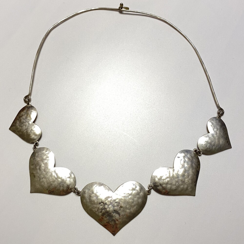"""925 Sterling JEEP COLLINS 5 Heart Necklace 48.1g, 19"""""""