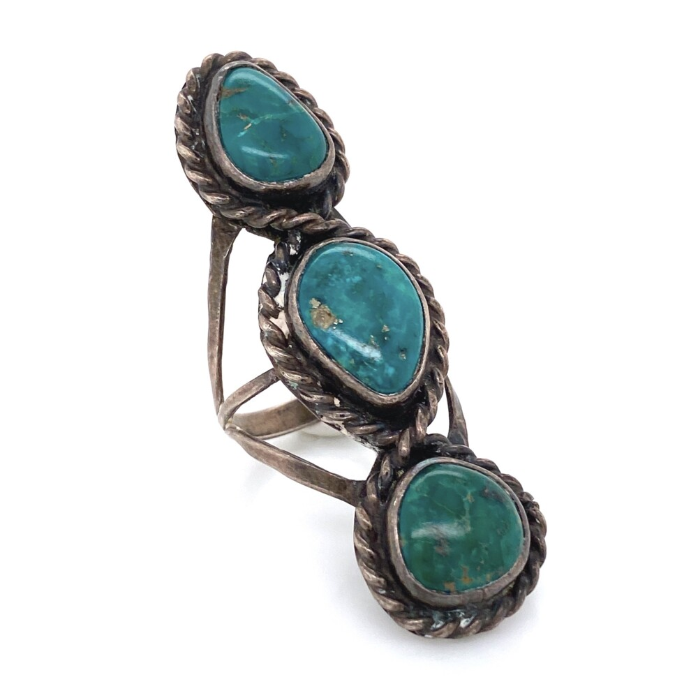 925 Sterling Native 3 Turquoise Rope Design Ring 11.7g, Size 5.5