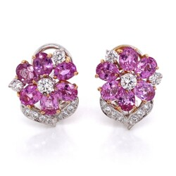 Closeup photo of 18K 2tone 7tcw Pink Sapphire & .70tcw Diamonds Earrings