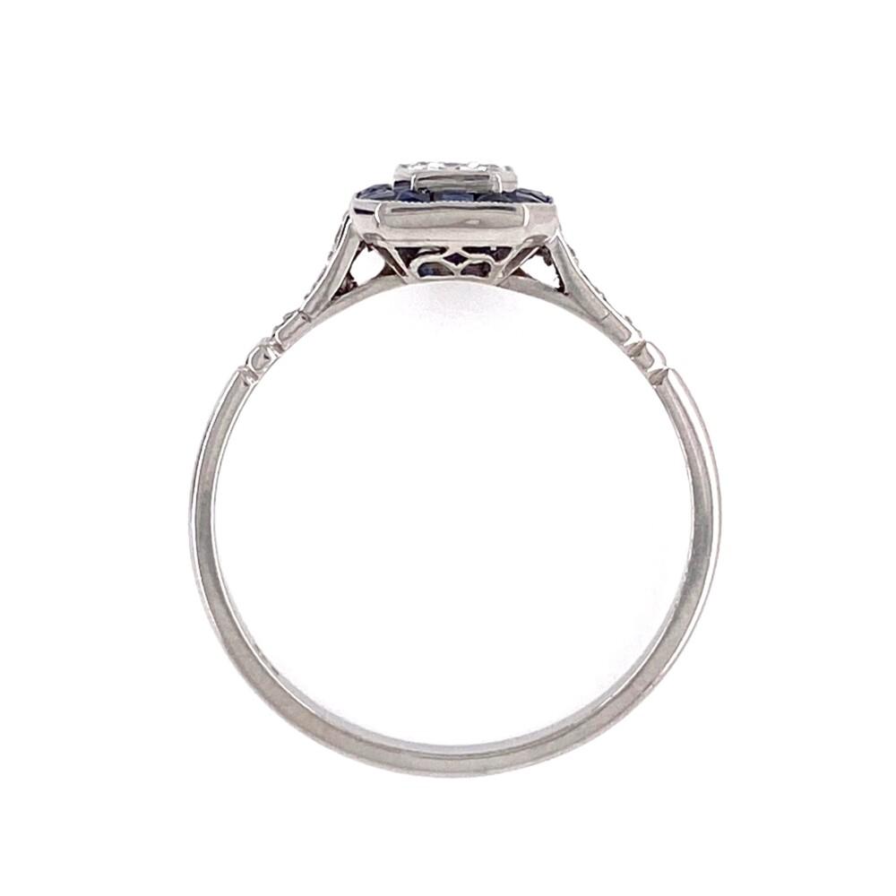 Platinum .46ct Square Emerald Cut Diamond with Sapphire Halo Ring, s7.5