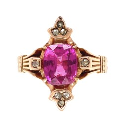 Closeup photo of 14K RG Victorian 1.91ct Pink Sapphire & .16tcw Diamond Ring, s6.5