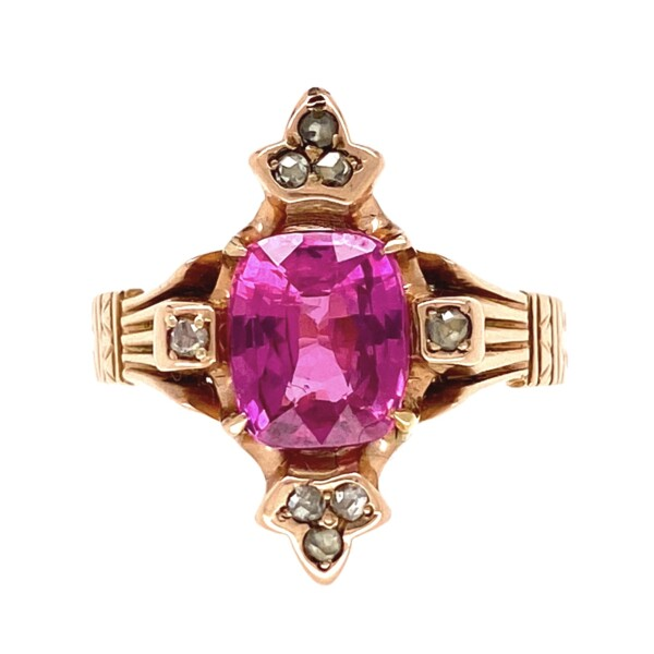 Closeup photo of 14K RG Victorian 1.91ct Pink Sapphire & .16tcw Diamond Ring, s6.5