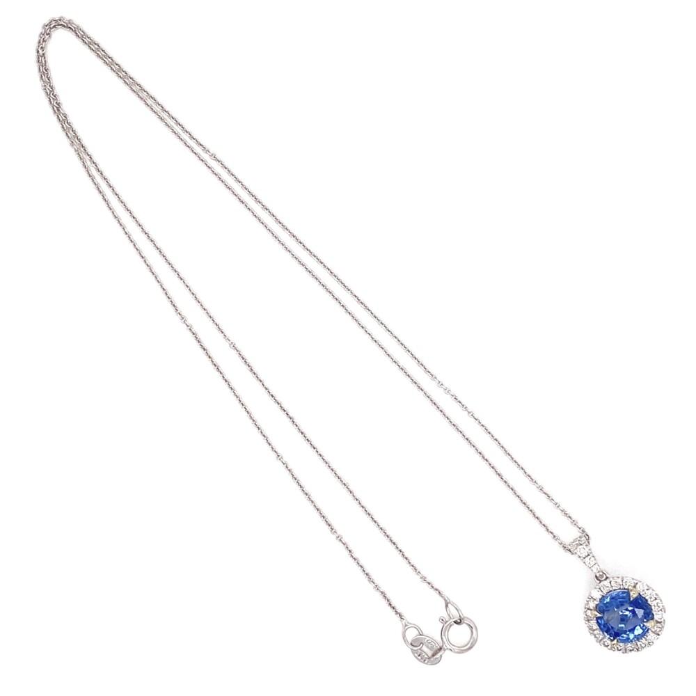 "14K WG 1.76ct Round Blue Sapphire & .28tcw Diamond Halo Pendant, 16"""