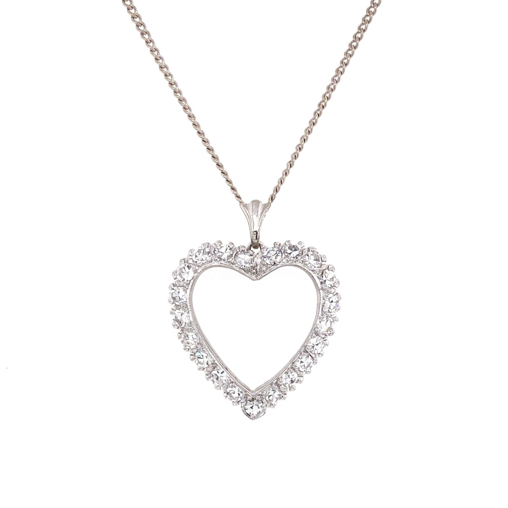 14K WG Open 1.60tcw Diamond Heart Shape Necklace 5.65g, 16""