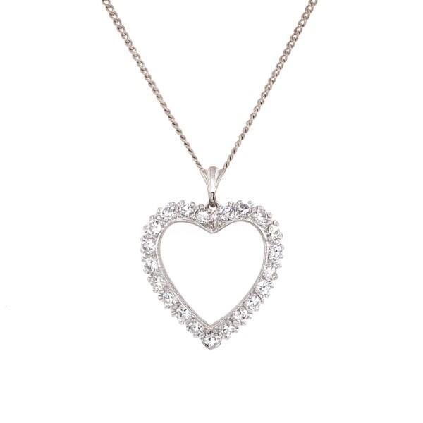 "Closeup photo of 14K WG Open 1.60tcw Diamond Heart Shape Necklace 5.65g, 16"""
