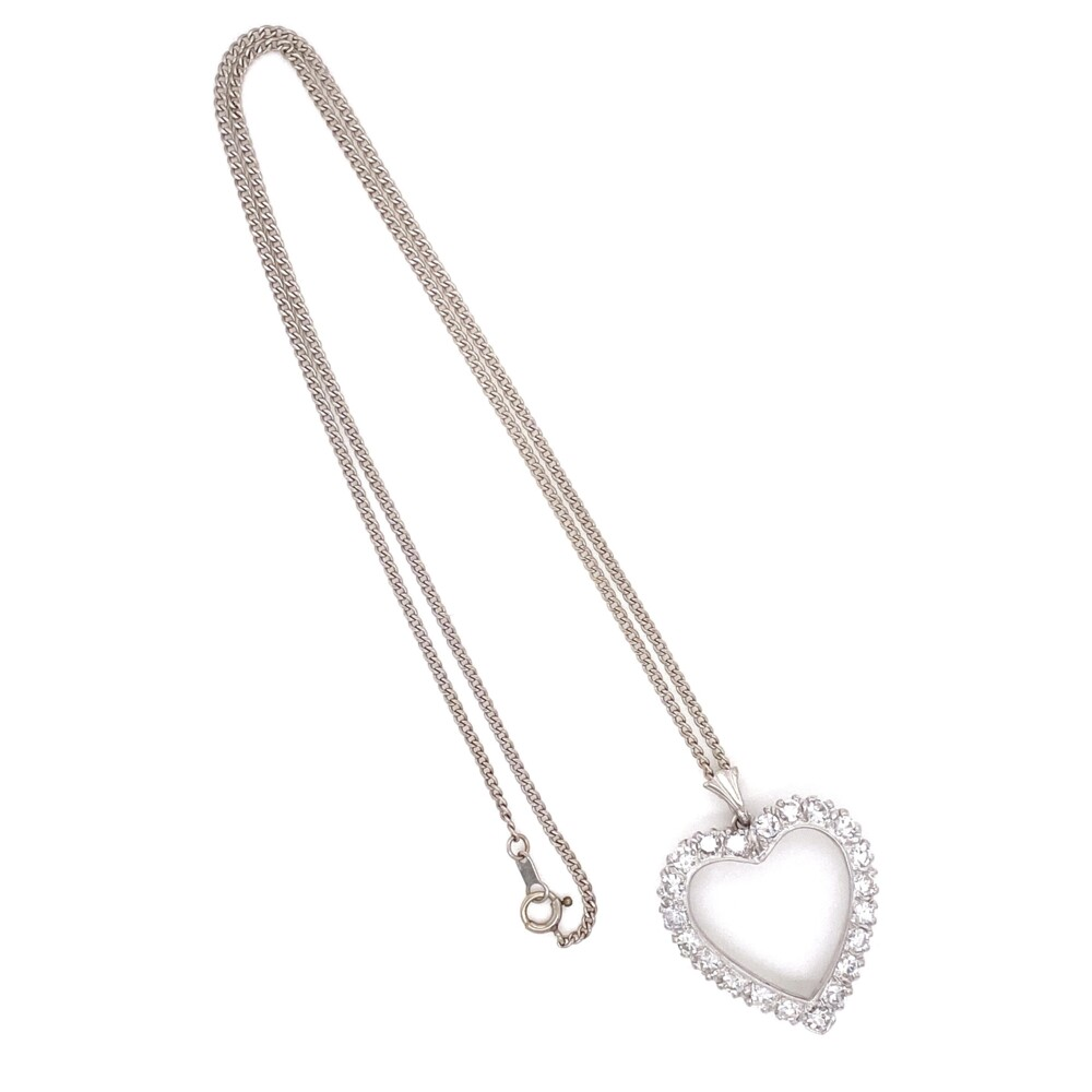 Image 2 for 14K WG Open 1.60tcw Diamond Heart Shape Necklace 5.65g, 16""