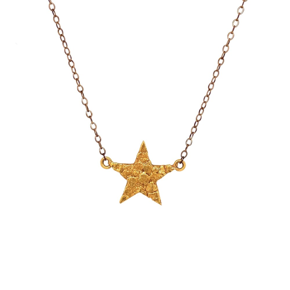 """Image 2 for 10K & 22K Star Nugget Pendant 1.70g, on GF Chain 17"""""""