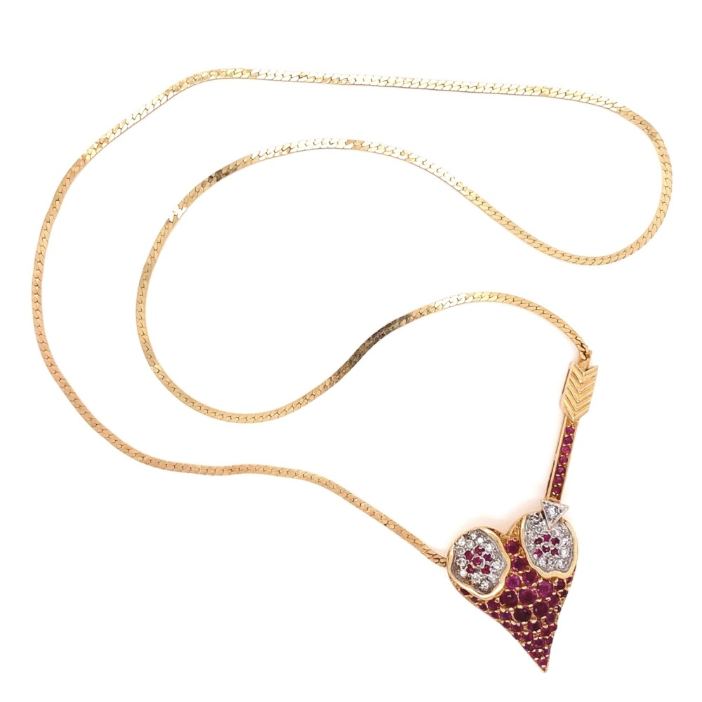 14K YG ERTE L'Amour Heart Pendant Rubies & Diamonds 14.2g, 18""