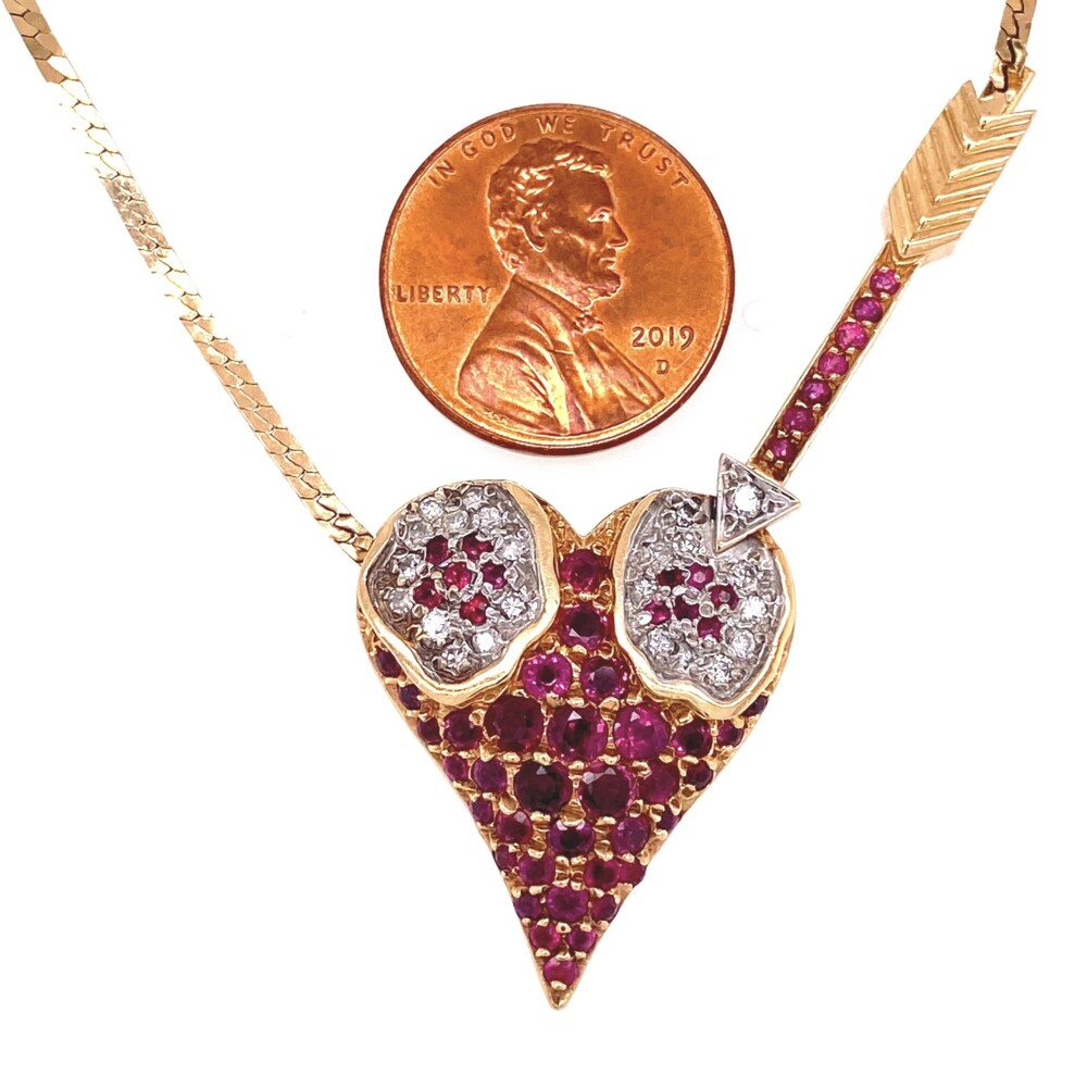 Image 2 for 14K YG ERTE L'Amour Heart Pendant Rubies & Diamonds 14.2g, 18""