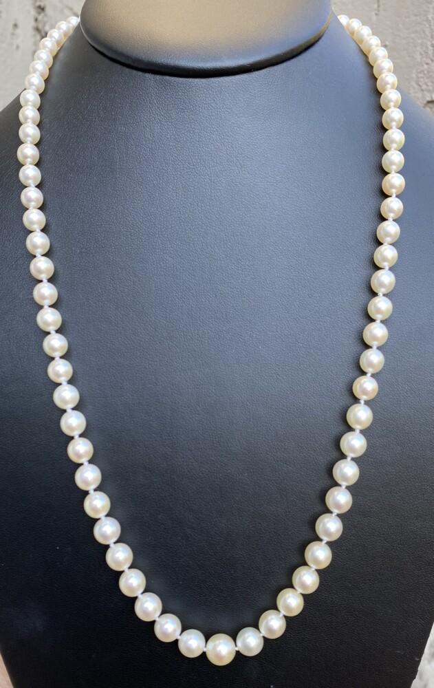 "Image 2 for Platinum Mikimoto Art Deco Pearl Strand 8.7-4.7mm Diamonds, Ruby, Sapphire Clasp 21"""