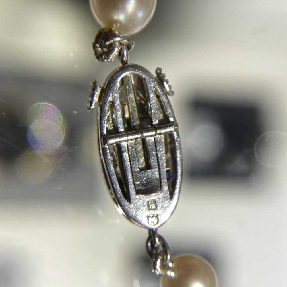 "Platinum Mikimoto Art Deco Pearl Strand 8.7-4.7mm Diamonds, Ruby, Sapphire Clasp 21"""