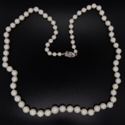 "Closeup photo of Platinum Mikimoto Art Deco Pearl Strand 8.7-4.7mm Diamonds, Ruby, Sapphire Clasp 21"""
