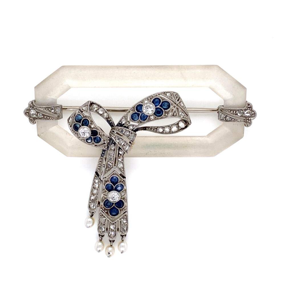 Platinum Art Deco Quartz Crystal .83tcw Diamond & Sapphire Brooch 11.5g,