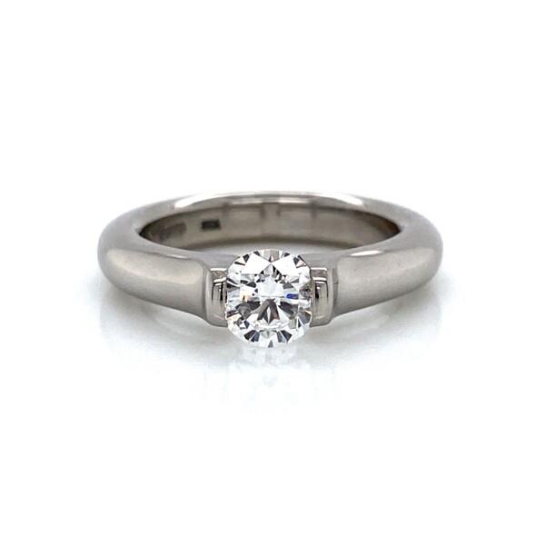 Closeup photo of Platinum Tension Set Omega Ring .70ct Diamond F-SI1 GIA, s5.5+