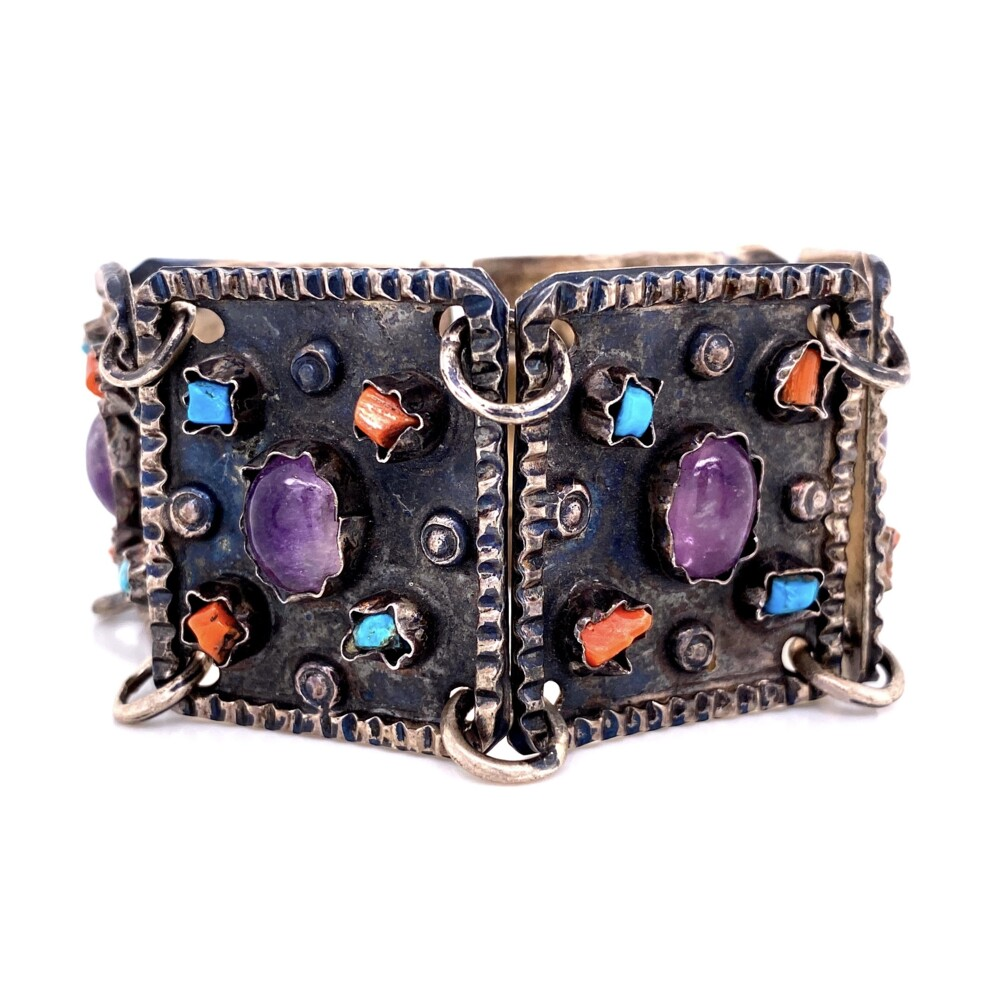 925 Sterling TAXCO Bracelet with Amethyst, Turquoise, Coral 45.7g, 6.25""