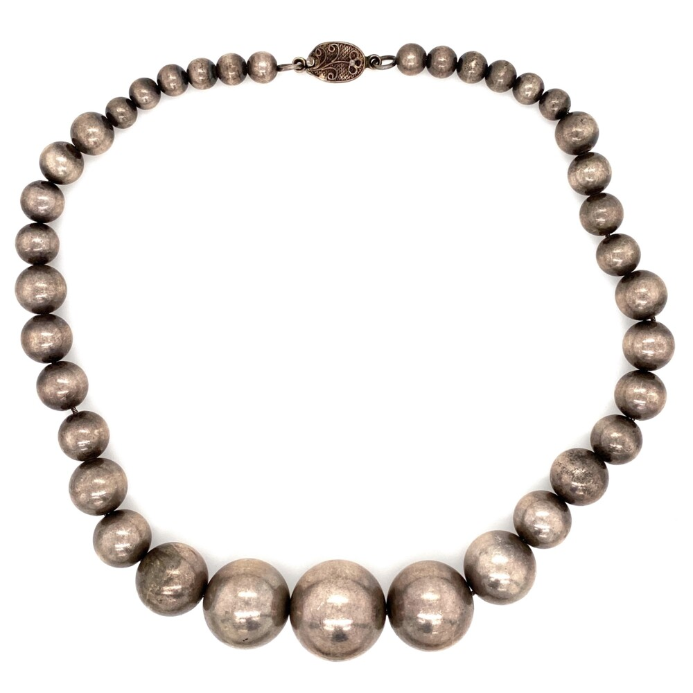 925 Sterling Bead Necklace 21-5.7mm 71.5g, 16""