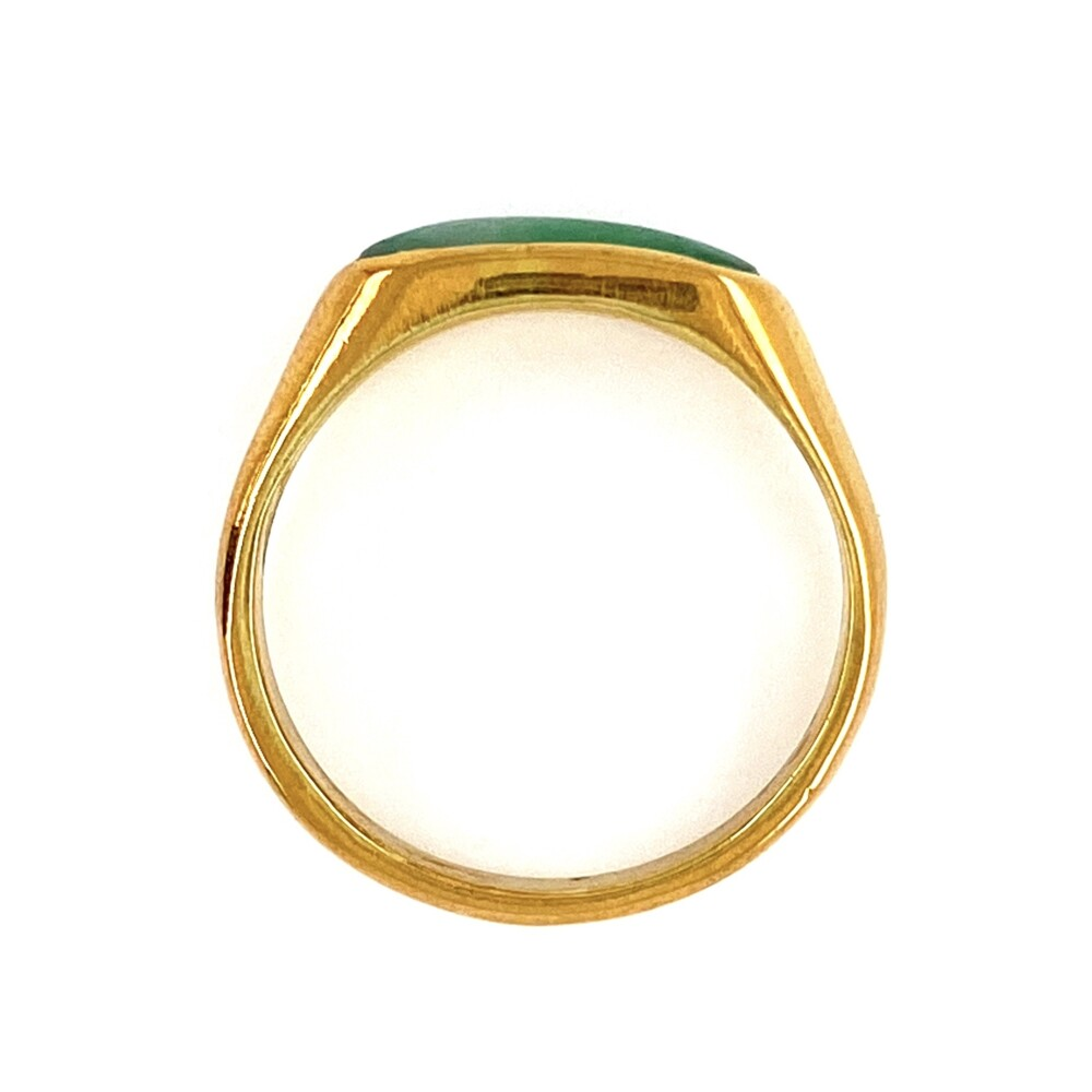 24K YG Green Jade Bar Pinky Ring 4.0g, s6