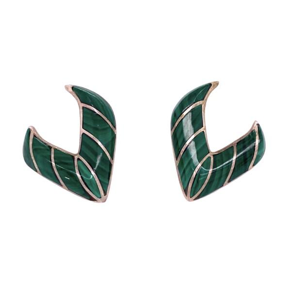 Closeup photo of 925 Sterling Native Malachite V Shape Earrings 8.4g